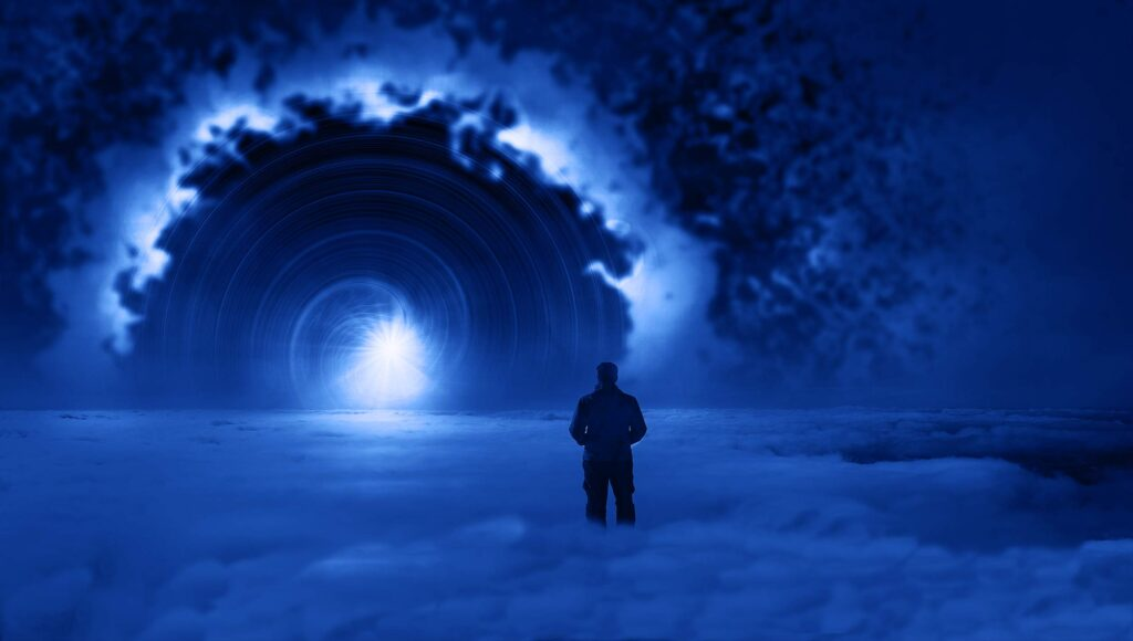 Person looking into tunnel of light