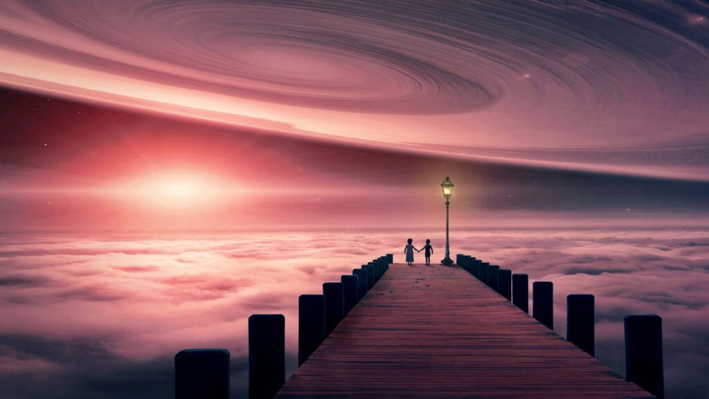 dreamscape with two people holding hands