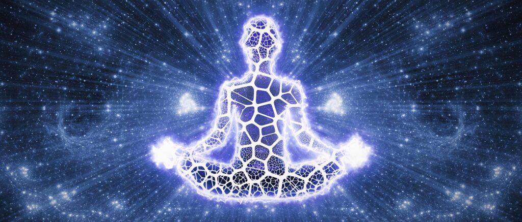 meditating figure shining light