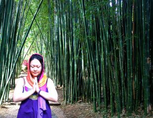 woman in bamboo forest
